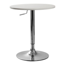 Furnituremaxx - Cumar Adjustable Height Wood and Chrome Metal Bar Table , White - Hot, sleek and incredibly fashionable and fun, this Adjustable Table is a must have for the modern home!