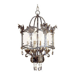 Kathy Kuo Home - Spanish Revival Antique Gold Silver Lantern Pendant Lamp - An exquisite historical design from the Winterthur Museum Archive Collection designed by the du Pont family is made breathtaking with its opulent finishes of Viejo Gold and Silver.  Smoked crystals and seeded glass lend vintage elegance to this unique pendant lamp.