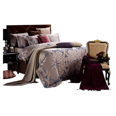 Dolce Mela - 6 Piece Damask Jacquard Duvet Cover Set Luxury Bedding, Dolce Mela - Iris, King - Simmering silver and symmetrical jacquard paisley motifs are floating on a peaceful light slate-blue to create an impressive design for an upscale bedding ensemble to satisfy the affluent bedroom decor.