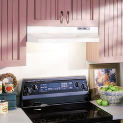 Broan-NuTone - Broan 24W in. Under Cabinet Range Hood - 422404 - Shop for Hoods and Accessories from Hayneedle.com! Specifically designed for 7-inch round vertical duct attachments the Broan 24W in. Under Cabinet Range Hood is efficient and stylish. Its simple design comes in a variety of colors and includes a protective lamp lens allowing you to enhance your kitchen's look and performance. Easy-to-use switches control the light and fan speed.UL Listed and HVI 2100 Certified this hood operates at 190 CFM and 6 sones for effective removal of pollutants at minimal volume. It's outfitted with a high-quality fan and a removable dishwasher-safe filter built-in 7-in. duct adapter and can work in an ADA compliant application.About Broan-NuTone Ventilation:Broan-NuTone has been leading the industry since 1932 in producing innovative ventilation products and built-in convenience products all backed by superior customer service. Today they're headquartered in Hartford Wisconsin employing more than 3200 people in eight countries. They've become North America's largest producer of residential ventilation products and the industry leader for range hoods ventilation fans and heater/fan/light combination units. They are proud that more than 80 percent of their products sold in the United States are designed and manufactured in the U.S. with U.S. and imported parts. Broan-NuTone is dedicated to providing revolutionary products to improve the indoor environment of your home in ways that also help preserve the outdoor environment.
