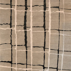 "Loloi - Loloi Hermitage HE-11 (Silver, Black) 5'6"" x 8'6"" Rug - 100% wool hand-made cord woven by hand-made in India for soft transitional designs. Wonderful soft color palette that feels substantial and plush under foot."