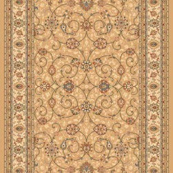 "Dynamic Rugs - Dynamic Rugs Ancient Garden 57120-2464 (Light Gold, Ivory) 6'7"" x 9'6"" Oval Rug - Turn of the Century Persian patterns are skill fully recreated in this exciting and sophisticated collection. The antique shades from sun-washed colors are blended softly with today's fashion of low contrast patterns with field colors of champagne, dusted blue, soft greens, creme, malt and a luxurious black or ruby red. Woven with DECOLAN, a wool-like fine heat-set polypropylene fibre at nearly a million points per square meter to achieve a fine pencil point finish and design clarity."