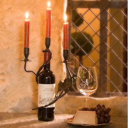 Three Vine Candle Holder - Wrought iron is hand forged and painted. Sets in wine bottle. Holds 3 taper candles.
