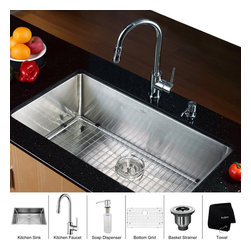 Kraus - Kraus 32 inch Undermount Single Bowl Stainless Steel Kitchen Sink with Chrome Ki - *Add an elegant touch to your kitchen with unique Kraus kitchen combo