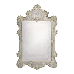 """Inviting Home - Large Antiqued Venetian Mirror - large antiqued Venetian mirror; 39"""" x 60""""H; hand-crafted in Murano (Italy) ; Antiqued Venetian mirror framed in hand-etched glass and has an elaborate twisted glass trim. Venetian glass mirror is richly embellished with ribbons and rosettes. Hand etched design features floral motif. This large antique Venetian mirror is hand-crafted in Italy."""