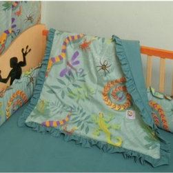 Room Magic Little Lizards Crib Set - The imaginative Room Magic Little Lizards Crib Set features crawling lizards, slithering snakes, climbing frogs, and spinning spiders for creative kids with adventurous minds. The four-piece crib set includes a bumper, a solid crib sheet, a crib comforter that is reversible with the print on top and solid on bottom, and a gathered print crib skirt in the finest 100% cotton.About Room MagicRoom Magic doesn't just make children's furniture; they design furniture specifically for children, using the magic of childhood imagination and creativity as a guiding principle. Beginning in 1999 with graphic designer Karen Andrea's attempt to create a truly lively and unique room for her five-year-old daughter Sarah, the company has maintained a focus on using bright colors and unique themes that steer clear of cliched motifs. Bright and bold playful cut outs decorate the quality hardwood pieces finished with beautiful stains. With collections that are geared both to boys and to girls, Room Magic provides the furniture, accessories, and bedding you need to bring the magical fun of childhood to your kids' rooms.