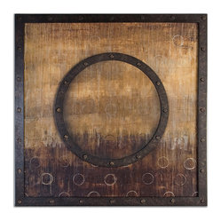Uttermost - Mink Stole Framed Art - If you stare at this oil reproduction long enough you'll swear there's a hidden message among the circles. The heavily distressed, black and brown circle in the middle mimics the frame and is raised to add definition and depth.