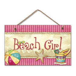 "Handcrafted Model Ships - Wooden Beach Girl Sign 10"" - Wooden Sign - Our Wooden Beach Girl Sign 10"" is the perfect choice to display your affinity for decorating a beach house. Place this sign in a beach kitchen, use as a coastal decorating idea, or hang this up as part of your beach bedroom decor. Given all the options, one thing is for certain, you are sure to inject the beach lifestyle into your humble abode."
