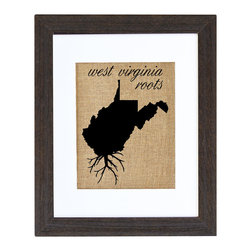 Fiber and Water - West Virginia Roots - A great silhouette of the state of West Virginia, enhanced with roots for those West Virginia natives who are never too far away. This hand-printed piece of art has beautiful texture from a combination of natural burlap and water-based paints. Framed in a wooden, distressed black frame and made in the U.S.A.
