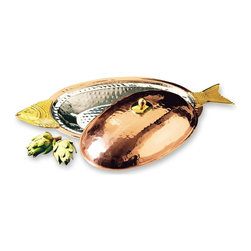 Old Dutch International - Decor Copper Covered Fish Platter - Brass handles. Made from stainless steel. Copper finish. 21.5 in. L x 9 in. W x 5 in. H (3.8 lbs.)