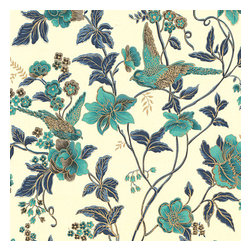 Aqua Floral Bird Organic Cotton Fabric - Stunning hand blockprinted chinoiserie-esque floral & bird motif in blue & turquoise with shimmery hints of gold.Recover your chair. Upholster a wall. Create a framed piece of art. Sew your own home accent. Whatever your decorating project, Loom's gorgeous, designer fabrics by the yard are up to the challenge!