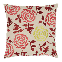 Emma at Home - Wallflower Pillow, Cinnamon - Modern romance exudes from this pillow with sophisticated color combinations and textured embroidery. The flowers are slightly whimsical, but not over the top. It's perfect for a sophisticated room needing just a touch of softness.