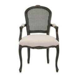 Safavieh - Safavieh McKenna Arm Chair in Black - Accent any space with a dash of elegant comfort. A rich wood frame and legs support the amply stuffed seat and finished with exquisite carpenter nail head detailing. An open back design lets light pour in from all around.