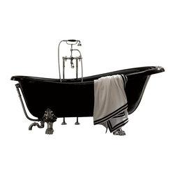 Modo Bath - Retro 1051 Glass Resin Bathtub In Black with Metal Feet - Retro 1051 Glass-Resin Bathtub, Black with Metal Feet, by WS Bath Collections