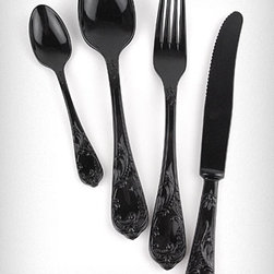 Noir Extravaganza Cutlery Set - Black silverware! The color is sleek and modern and the pattern is classic and baroque. True it's plastic, but it can be washed and re-used and a complete service for four is under $30. Add this to your everyday dishes or use it at a special party for some little black dress glam.