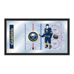 """Holland Bar Stool - Holland Bar Stool Buffalo Sabres Hockey Rink Mirror - Buffalo Sabres Hockey Rink Mirror belongs to NHL Collection by Holland Bar Stool The perfect way to show your team pride, our hockey rink mirror displays your team's symbols with a style that fits any setting.  With it's simple but elegant design, colors burst through the 1/8"""" thick glass and are highlighted by the mirrored accents.  Framed with a black, 1 1/4 wrapped wood frame with saw tooth hangers, this 15""""(H) x 26""""(W) mirror is ideal for your office, garage, or any room of the house.  Whether purchasing as a gift for a recent grad, sports superfan, or for yourself, you can take satisfaction knowing you're buying a mirror that is proudly Made in the USA by Holland Bar Stool Company, Holland, MI.   Mirror (1)"""