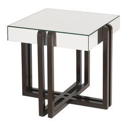 Lexington - Aquarius Starfire Lamp Table - Mirrored top with a select hardwood base in a dark walnut finish. Complements the 4211-607 Starfire Cocktail Table.