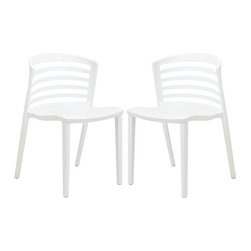 "Modway - Curvy Dining Chairs Set of 2 in White - Indulge in no-frills, straightforward contemporary style with this modern multi-purpose chair. Made from heavy-duty molded plastic this chair was built to last. Eye catching and comfortable, this reproduction brings fashion and flavor to your space. Includes: Two - Curvy White Plastic Chairs; Durable Molded Plastic; Easy to Clean; Fully assembled; Dimensions: 21""L x 19.5""W x 30""H; Seat Height: 17""H"