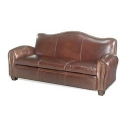 EuroLux Home - New Leather Sofa Wood Top Grain Leather - Product Details