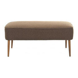 Safavieh - Kalina Bench - Recapturing the design aesthetic of the 1950's in dashing style, the Kalina Bench boasts spindle legs in birch wood finished in the look of the period's Danish furniture in natural blond oak. The straightforward lines and warm brown brushed polyester upholstery recall scenes from the TV hit series, Mad Men. Use Kalina in front of a bed, in the living room, den and office for extra seating and Mid Century panache.