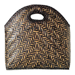 Baskets & Organizers - Handwoven from Bamboo and finished with a black and brown stain as we as fitted with a cotton liner inside this magazine rack exudes elegance and refinement while being functional.