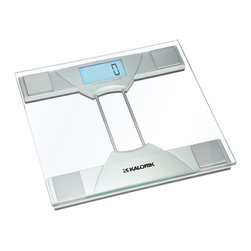 """Kalorik - Kalorik Electronic Bathroom Scale - Add to your modern bathroom with this Kalorik digital scale. It conveniently turns on once you step on the scale and special feature: display for the weight difference between previous measure and the current one. So easy to read, its large 1.3"""" lighted LCD screen makes weighing in quicker. Its slim glass design is perfect for the modern home and stores easily. Holds up to 350 pounds. Measures approximately 11 1/4"""" L x 11 1/4"""" W"""