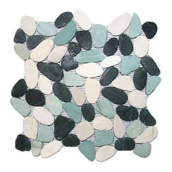 Pebble Tile Products - Each pebble is carefully selected and hand-sorted according to color, size and shape in order to ensure the highest quality pebble tile available.  The stones are attached to a sturdy mesh backing using non-toxic, environmentally safe glue.  Because of the unique pattern in which our tile is created they fit together seamlessly when installed so you can't tell where one tile ends and the next begins!