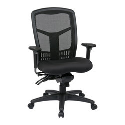 Office Star - Office Star ProGrid High Back Managers Chair With 2-Way Adjustable Arms - ProGrid High Back Managers Chair with Adjustable Arms and Seat Slider with Titanium Finish Frames. Breathable ProGrid     Back with Built-in Lumbar Support. 2-Way Adjustable Arms. 5 Level Multi Function Control and Seat Slider. Sturdy Titanium Finish Arms and Frame. What's included: Office Chair (1).