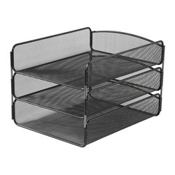 Safco - Onyx Triple Tray Organizer in Black - Made of steel. Sturdy mesh construction. Stackable. Manufacturer's limited lifetime warranty. 11.75 in. L x 9.25 in. W x 8 in. H (2.25 lbs.)Keep your papers organized and prioritized while keeping them off your desk. Ensure you can always find important documents or keep current projects close at hand. Use in an office or any shared spaces including the reception area, print station, break rooms, lounge areas or conference rooms.