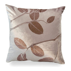 Kohl Lemon Leaf on Cobble Pillow - A lemon leaf pattern lends a subtly beautiful touch to a perfect shade of pinkish beige and is a delightful way to bring a kiss of nature into your living area or bedroom. Each Aviva Stanoff piece is specially crafted for you upon ordering and takes 8-10 weeks but is absolutely worth the wait.