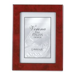 Lawrence Frames - Burgundy Faux Burl 5x7 Picture Frame - Polished Lustrous Finish - Elegant burgundy burl design picture frame has a brilliant polished finish.  Sides are trimmed in polished black which gives this frame a very tailored look.  Backs are fitted with high quality black composite backing.  Can be used vertically or horizontally for tabletop display, or wall mounted vertically or horizontally with included hangers.  Individually boxed.