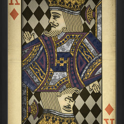 "The Artwork Factory - ""King of Diamonds"" Print - When it comes to cards or symbols of power, the King of Diamonds is at the head of the pack. This ornately designed, regal figure is raising a hand to cast his lordly blessing over your household. The vintage-style print looks appropriately aged and comes framed and ready to hang."