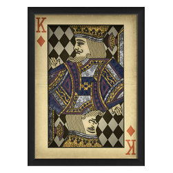 The Artwork Factory - 'King of Diamonds' Print - When it comes to cards or symbols of power, the King of Diamonds is at the head of the pack. This ornately designed, regal figure is raising a hand to cast his lordly blessing over your household. The vintage-style print looks appropriately aged and comes framed and ready to hang.