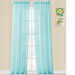 None - Colette Window Panel Rod Pocket Sheer Curtains - Instantly update any home decor with these fantastic sheer curtains. The vibrant color effortlessly complements any décor as it softly filters light.