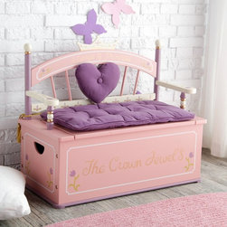 Levels of Discovery - Levels of Discovery Royal Princess Toy Box Bench - LOD20007 - Shop for Childrens Toy Boxes and Storage from Hayneedle.com! The Royal Princess Toy Box Bench is definitely fit for a princess. This beautiful toy box comes in princess pink with The Crown Jewels painted on the front and Always a Princess on its regal spindle back frame. This toy box also serves as a bench with a removable padded seat cushion and back heart cushion in royal purple. This toy box features a metal safety hinge and closes slowly. The interior storage space measures 30L x 14W x 10.5H inches. Not only is this toy box bench comfortable and charming but it's also built with your child's safety in mind. It meets all CPSC (Consumer Product Safety Commission) product tests for safety. Your little princess will love the style and comfort of this fancy toy box! Recommended ages 2-7 years. Overall dimensions: 32L x 16W x 27H inches Interior dimensions: 30L x 14W x 10.5H inches Exterior dimensions: 32L x 16W x 12H inches Give a gift fit for a princess give her the Princess Toy Box Bench today! You can view other matching pieces to this one below.