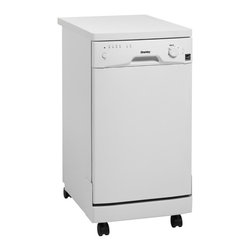"Danby - 18"" Portable Dishwasher-White - 8 Place Setting Capacity with silverware basket,  Energy Star compliant, Simple electronic controls, 6 Wash Programs, Durable stainless steel spray arm & interior, Rinse Agent Dispenser, Automatic Detergent Dispenser, Built-in Water Softening System, Castors for easy portability, Unit dimensions (17 11/16 x 26 x 36)"