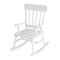 """Levels of Discovery - Simply Classic Rocker White - Classic colors�timeless finishes�always in style The perfect accent for any d�cor Photo greeting card included so child can say THANK YOU in a memorable way Includes understamp beneath the seat that the customer can personalizeTimeless finish. Understamp beneath the seat for personalization. Photo greeting card included. All chairs have a """"personalizable"""" understamp. All rockers include photo greeting card and envelope"""