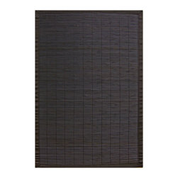 Anji Mountain - 7' x 10' Villager Ebony Bamboo Rug - Bamboo rugs have been a traditional floor covering in the Far East for centuries. They add a touch of organic, practical elegance to any space. Our bamboo rugs are made of the finest quality, sustainably harvested bamboo in the world for supreme durability. Kiln-dried bamboo is machine-planed and sanded for a smooth finish. This classic collection offers a variety of intriguing designs and brilliant colors to choose from.