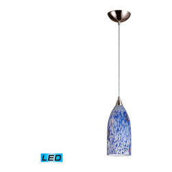 Elk Lighting - Elk Lighting Verona 1 Light Pendant in Satin Nickel & Starlight Blue Glass - 1 Light Pendant in Satin Nickel & Starlight Blue Glass belongs to Verona Collection by Individuality Is What Defines This Exquisite Line Of Hand Blown Glass. Each Piece Is Meticulously Hand Blown With Up To Three Layers Of Uncompromising Beauty And Style. Pendant (1)