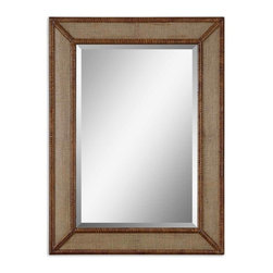 "Uttermost - Uttermost Mena Mirror - Uttermost Mena Mirror is a Part of Grace Feyock Designs Collection by Uttermost Frame features center panels with a burlap overlay and wrapped bamboo inner and outer edges. Mirror has a generous 1 1/4"" bevel. Wall Mirror (1)"