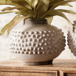 Short Pebbly Vase - Add a fantastic dose of texture to your table or shelving with this knobbly vase. A crackled white glaze gives it a wonderful old-fashioned, rustic air.