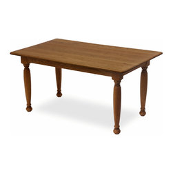 """Custom solid wood dining tables built by Vermont craftsmen - Constructed from solid Cherry with Farmhouse table legs. Quirk Bead edging with a 1.5"""" Round corner. Aprons will be standard and the table legs bolt on (2 bolts per leg). Measurements: 36"""" wide x 60"""" long x 1"""" thick x 30"""" tall. The top will be crafted with boards 3 to 7"""" in width. Your table will comfortably seat 6 people. Clear coat oil finish.  Free Shipping."""