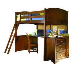 Lea - Lea Deer Run Loft Bunk Bed With Desk and Nightstand in Brown Cherry Finish - Lea - Bunk Bed Sets - 625LBPKG - Lea Deer Run Loft Bunk Bed With Desk and Nightstand in Brown Cherry Finish