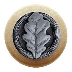 "Inviting Home - Oak Leaf Natural Wood Knob (clear finish with antique pewter) - Oak Leaf Natural Wood Knob in clear finish with hand-cast antique pewter insert; 1-1/2"" diameter Product Specification: Made in the USA. Fine-art foundry hand-pours and hand finished hardware knobs and pulls using Old World methods. Lifetime guaranteed against flaws in craftsmanship. Exceptional clarity of details and depth of relief. All knobs and pulls are hand cast from solid fine pewter or solid bronze. The term antique refers to special methods of treating metal so there is contrast between relief and recessed areas. Knobs and Pulls are lacquered to protect the finish. Alternate finishes are available."