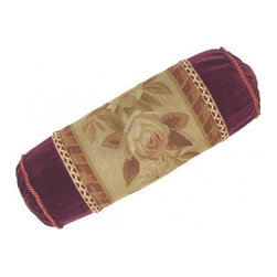"""EuroLux Home - New Aubusson Bolster 21""""x7"""" Floral Leaf - Product Details"""