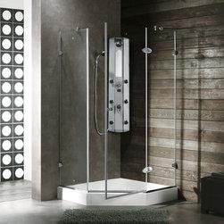 Vigo - VIGO VG6061CHCL40 Frameless Neo-Angle Shower Enclosure - Both dramatic and space-saving, the VIGO frameless neo-angle shower enclosure creates a beautiful focal point for your bathroom.