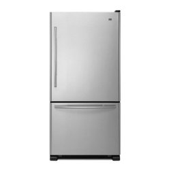 Maytag - MBF2258DEM 22 cu. ft. Refrigerator with Bottom Freezer  4 Adjustable Spill-Proof - The MBF2258DE Refrigerator from Maytag will bring elegance to your kitchen and freshness to your food It has stainless steel handles BrightSeries LED lighting ice maker spill-catcher adjustable shelves humidity controlled FreshLock crisper and a reve...