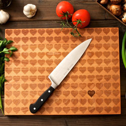 Personalized Carved Heart Engraved Wood Cutting Board by Wood Ink - One of the best things about wood is that it can be carved to create things like this custom cutting board.