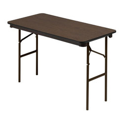 Iceberg - 48 in. Economy Wood Laminate Folding Table in Walnut Finish - Strong, durable and multi-purpose. Gravity lock. Heavy duty leg supports. 1 in. diameter steel legs. Protective foot cap. Black vinyl T-mold edge. Melamine sealed underside. Wear resistant 0.63 in. thick melamine top. Melamine sealed underside. Prevents moisture absorption. Steel skirt support with plastic corners. 48 in. W x 24 in. D x 29 in. HIceberg wood laminate folding tables offer a traditional look that will coordinate with any environment.