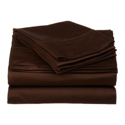 """530 Thread Count Egyptian Cotton Queen Chocolate Solid Sheet Set - Our 530 Thread Count Sheet Set offers the ultimate softness of a lower thread count. They are composed of premium, long-staple cotton and have a """"Sateen"""" finish as they are woven to display a lustrous sheen that resembles satin. Set includes: (1) Fitted 60""""x80"""", (1) Flat 90""""x102"""", (2) Pillowcases 20""""x30"""" each."""